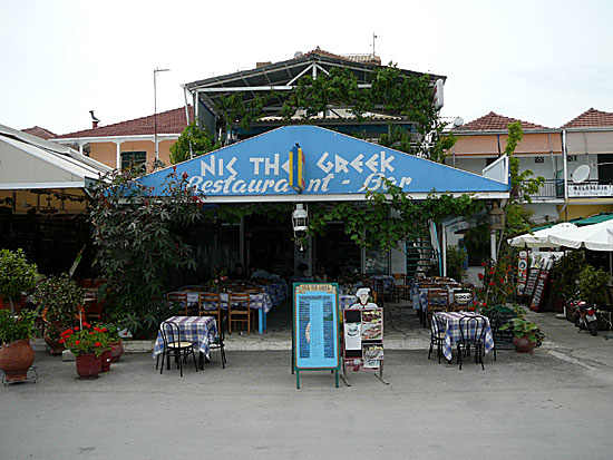 Restaurant Nick the Greek i Nidri på Lefkas.